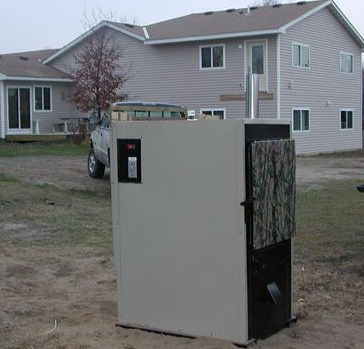 outdoor wood furnace hydronic heater views